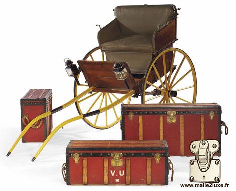 Malle démontable chariot a cheval Louis Vuitton voiture collection record prix de vente 133500€