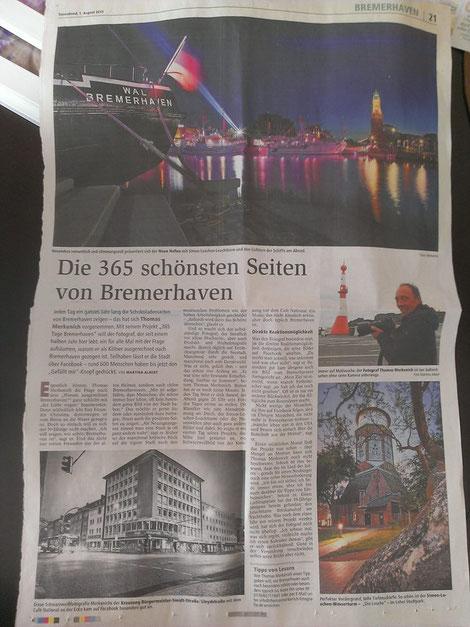 Zeitungsausschnitt 365-Tage-Bremerhaven in der Nordsee-Zeitung