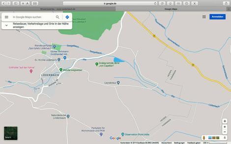 """Lüderbach bei Google Maps mit dem fälschlicher Weise als """"Ifta"""" bezeichneten Bach durch Lüderbach."""