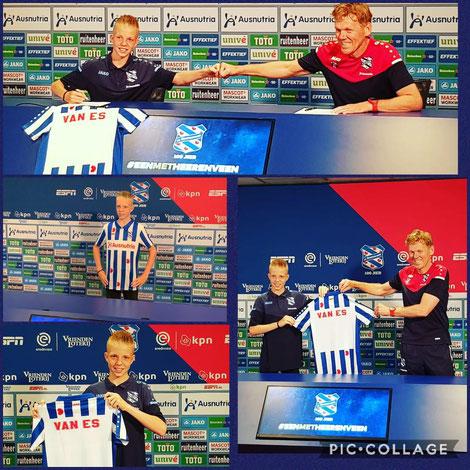 Dylan van Es zet zijn handtekening. Zondag nog gescout bij Hatto Heim. Nu SC Heerenveen speler.