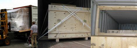 Kisten durch Verpackungsfirma Ottenbacher verladen oder Containerstau