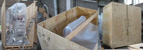 Packstücke in verschließbare Kisten - Verpackungsfirma Ottenbacher