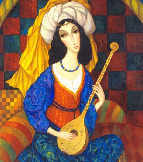 Bild: Gemälde mit einer orientalischen Frau mit Laute