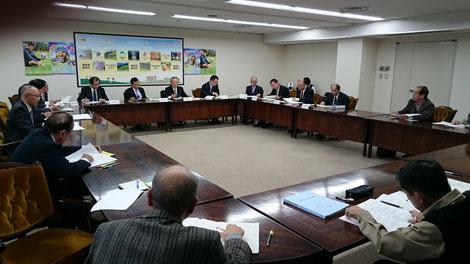 河野副市長(正面左から2人目)と部長、手前は大石議員と党員
