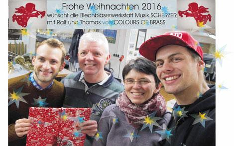 Weihnachtsgrüße von Musik Scherzer und Colours of Brass