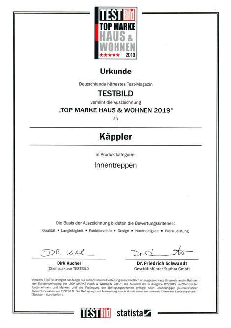 """KÄPPLER BauTischlerei - Urkunde """"TOP MARKE HAUS & WOHNEN 2019"""" Innentreppen"""