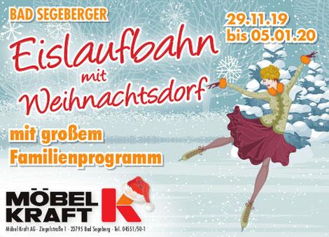 Plakat Eislaufbahn mit Weihnachtsdorf Möbel Kraft 2019