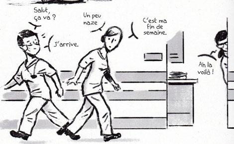 """Planche extraite de l'histoire de """"Sophie, infirmière en rééducation chirurgicale"""", réalisée par Thierry Bedouet. Histoire elle-même tirée du collectif """"Hôpital Public"""" édité par Vide Cocagne."""