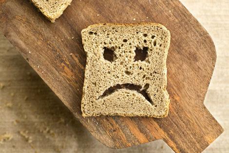 bread with unhappy face