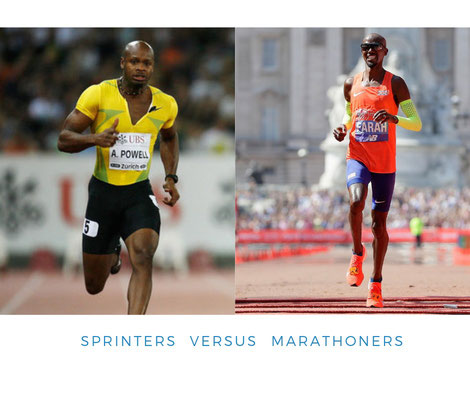 A good example of a sport requiring development of these Type II muscle fibers is sprinting. Compare the bodies of a marathoner, or a sprinter, who has the biggest muscles?