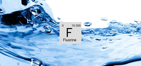 Water with flourine chemical sign