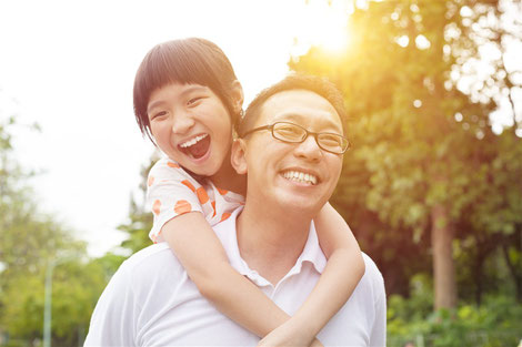 Asian father with asian daughter