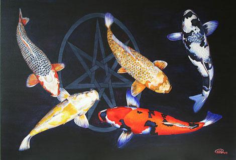 Yuma, Künster, Kunst vom Maler Yuma, Koi auf einer Leinwand, Koi Gemälde, Gemälde kaufen, Yuma-Arts
