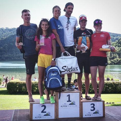 Platz 2 in der Gesamtwertung der Frauen - Alpentriathlon 2017