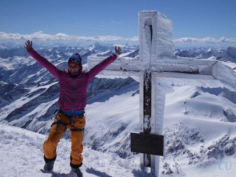 Nach knapp 8,5 Stunden endlich auf dem Gipfel des Großvenedigers (3.666m)
