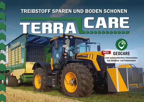 JCB-Traktor und Krone Ladewagen ausgestattet mit einer Reifendruckregelanlage von TerraCare. Die Luft wird erzeugt durch den paterntierten TerraCare Druckspeicher mit Kompressor. Zum automatischen Druckanpassen wird GeoCare von TerraCare verwendet.