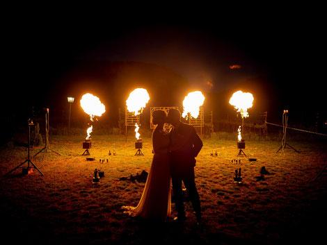 Hochzeitsfotograf Hochzeitsfeier mit Feuershow