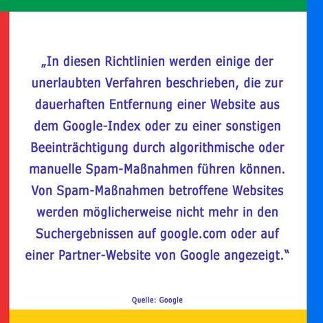 Bild Ausschnitt Google Richtlinien für Webmaster - unerlaubte Verfahren führen ggf. zum Ausschluss von Websites aus dem Index