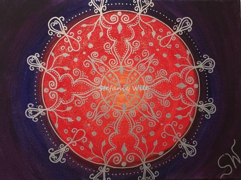 Mandala Mandalabild handgemalt Kunst Stefanie Will Leinwand Künstlerin Liebe Ammersee Kreativität Energie Spiritualität heilige Geometrie