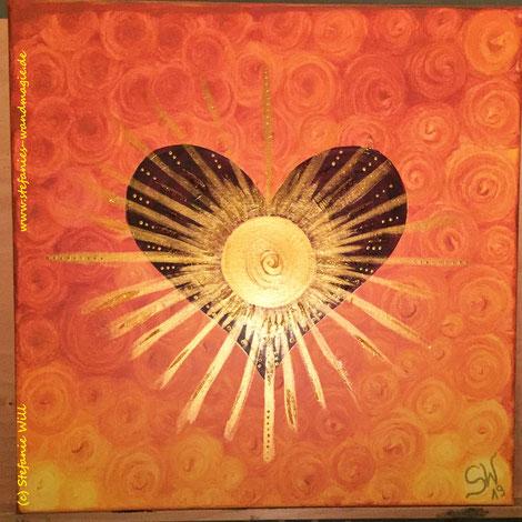 Herz Herzensenergie selbstgemalt Energiebild Stefanie Will Künstlerin Ammersee Quelle Liebe Bewusstsein Stefanies Wandmagie