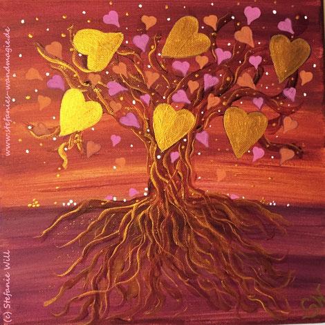 Lebensbaum Kunst Künstlerin Seelenbaum selbstgemalt Ammersee Stefanie Will Stefanies Wandmagie Energiebild Mystik Magie Herzensbaum Herz Liebe