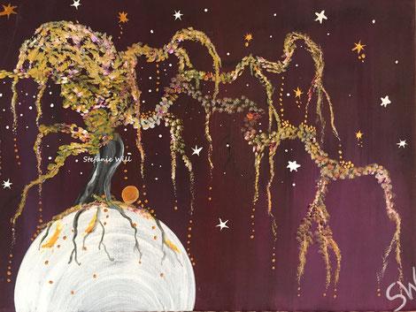 Lebensbaum Kunst Künstlerin Stefanie Will Ammersee selbstgemalter Baum Mystik Magie Stefanies Wandmagie Acryl spirituelle Kunst Energiebild