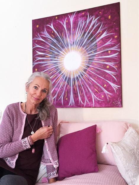 Energiebild selbstgemalt Chakra Künstlerin Stefanie Will Stefanies Wandmagie Acrylbild Quelle Herzensbild Herzensquelle Ursprung