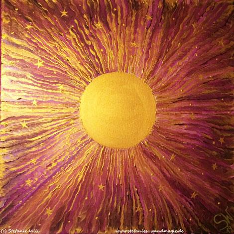 Energiebild Künstlerin Stefanie Will Stefanies Wandmagie Quelle Bewusstsein Sonne Zentralsonne selbstgemalt Kunst Ammersee