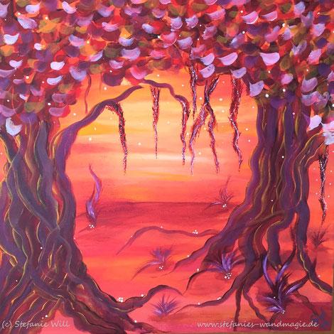 Lebensbaum Kunst Künstlerin Stefanie Will Ammersee selbstgemalter Baum Mystik Magie Stefanies Wandmagie Acryl Energiebild
