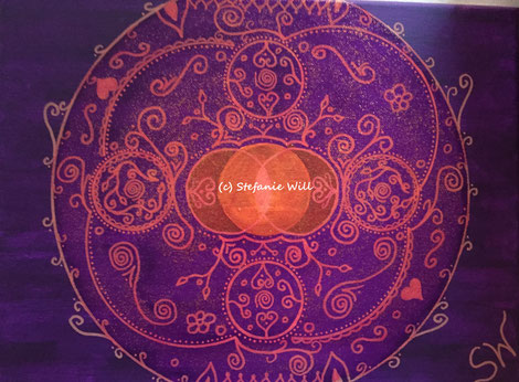 Mandala Mandalabild handgemalt Kunst Stefanie Will Leinwand Künstlerin heilige Geometrie Liebe Ammersee Kreativität Energie Spiritualität