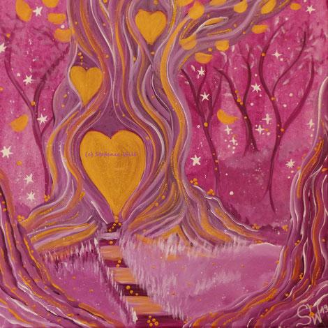 Lebensbaum Kunst Künstlerin Stefanie Will Ammersee selbstgemalter Baum Mystik Magie Stefanies Wandmagie Acryl spirituelle Kunst