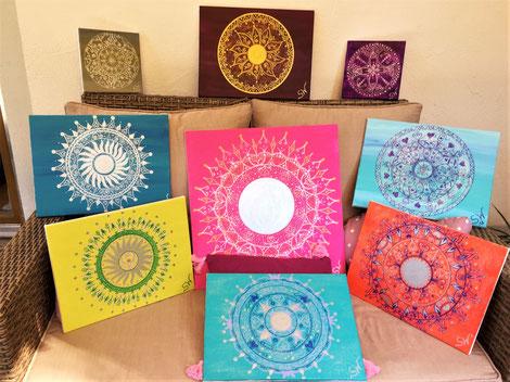 Mandalas Mandalabild handgemalt Unikate Kunst Stefanie Will Leinwand Künstlerin Liebe Ammersee Kreativität Energie Spiritualität Energiebild