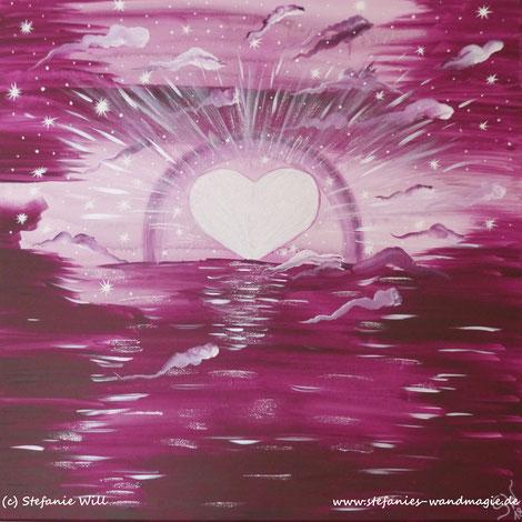 Herzensenergie Energiebild selbstgemalt Stefanie Will Künstlerin Quelle Schöpfung Bewusstsein Liebe Ammersee Stefanies Wandmagie
