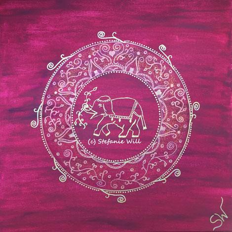 Mandala Mandalabild handgemalt Elefant Kunst Stefanie Will Leinwand Künstlerin Liebe Ammersee Kreativität Energie Spiritualität
