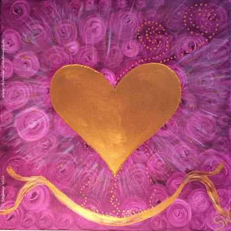 Herzensbild Herz selbstgemalt Energiebild Quelle Rosen Stefanie Will Künstlerin Stefanies Wandmagie Ammersee Herzensliebe