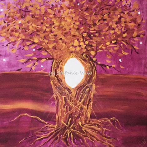 Lebensbaum Kunst Künstlerin Stefanie Will Ammersee selbstgemalter Baum Mystik Magie Stefanies Wandmagie Acryl
