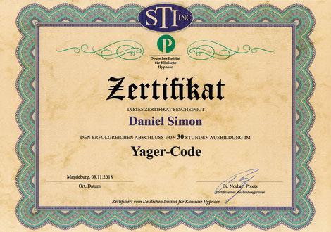 Yager-Code Zertifikat