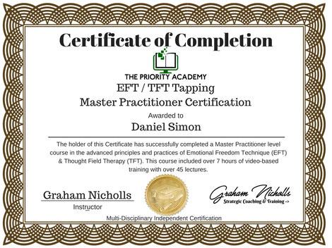 Zertifikat EFT/TFT Tapping Master Practitioner Daniel Simon