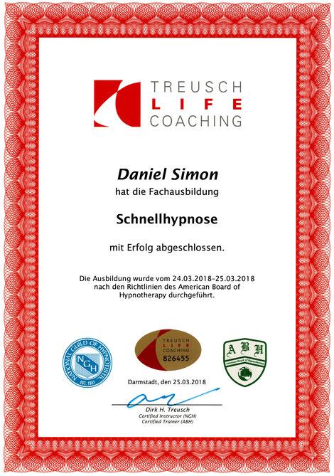 Zertifikat Schnellhypnose Daniel Simon