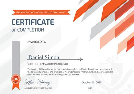 Zertifikat NLP Master Practitioner Daniel Simon