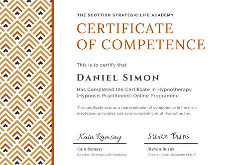 Zertifikat Hypnosis Practitioner Daniel Simon