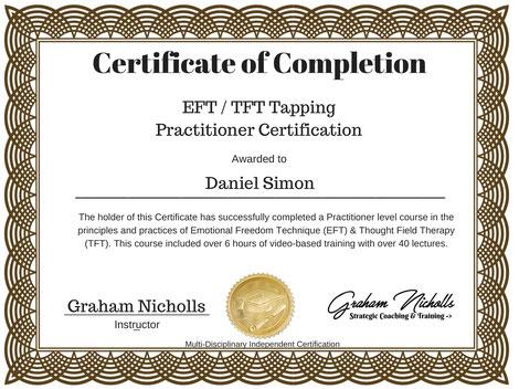 Zertifikat EFT/TFT Tapping Practitioner Daniel Simon