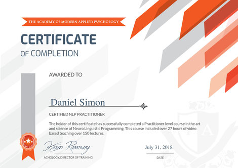 Zertifikat NLP Practitioner Daniel Simon