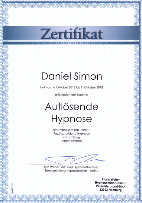 Zertifikat Auflösende Hypnose Daniel Simon