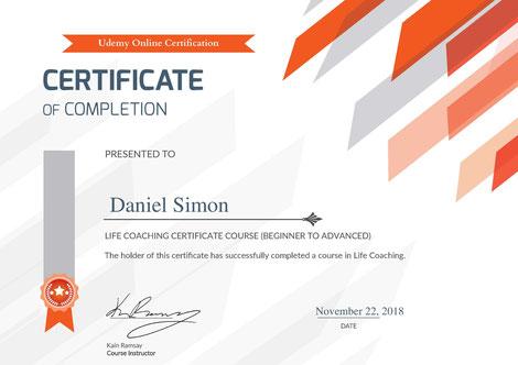 Zertifikat Life Coaching Daniel Simon