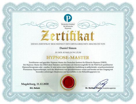 Zertifikat Hypnoanalyse Daniel Simon