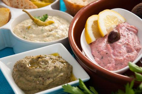 Veganes Meze-Fetacreme-Babaghanoush-Tarama