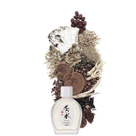 L'Eau de Ki  contiene 8 ingredienti naturali e medicinali di origine orientale e 4 piante aromatiche occidentali