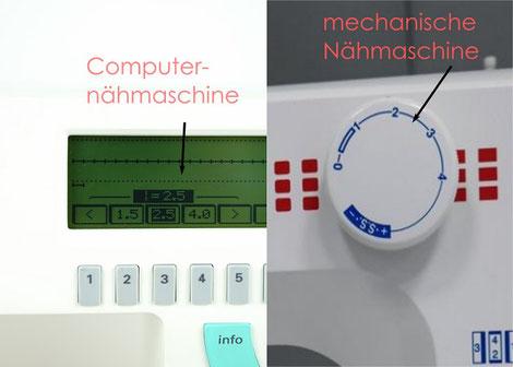 Der Unterschied zwischen Computernähmaschine und mechanischer Nähmaschine und der Geradstich.