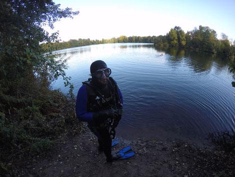 Tauchen, Tauchsport, unter Wasser, Angelsee, 2017, Minden, NRW, Meissen